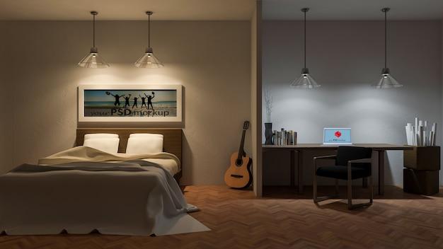 Interior design mockup with bedroom at night