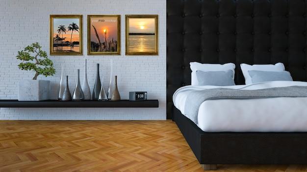 Interior design mockup with bedroom