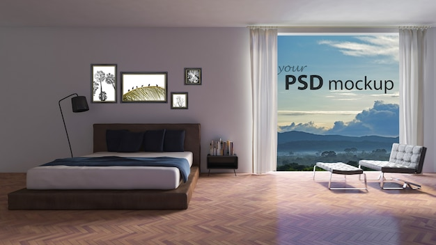 Interior design mockup with big window in bedroom