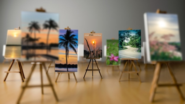 Interior design mockup with canvas on tripods
