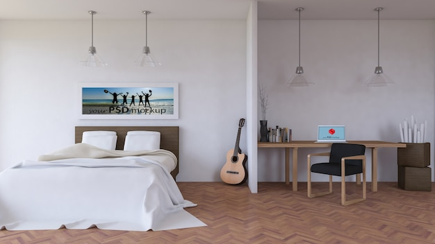 Interior design mockup with desk in bedroom
