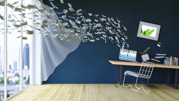 Interior design mockup with e commerce concept