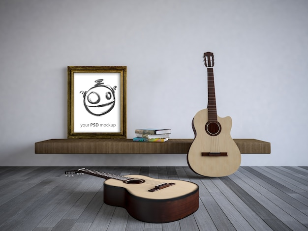 Interior design mockup with guitars