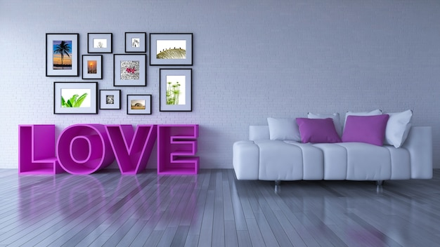Interior design mockup with love concept