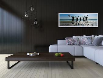 Interior design mockup with modern living room