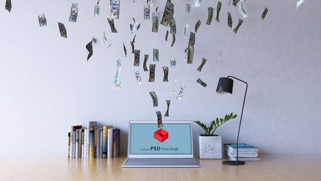 Interior design mockup with money flying into laptop