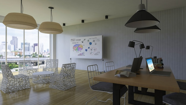 Interior design mockup with office