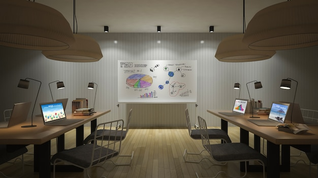 Interior design mockup with workspace