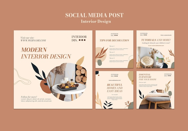 Шаблон сообщения в социальных сетях о дизайне интерьера