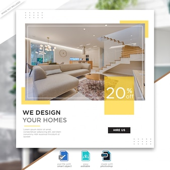 Interior design social media posts template premium psd