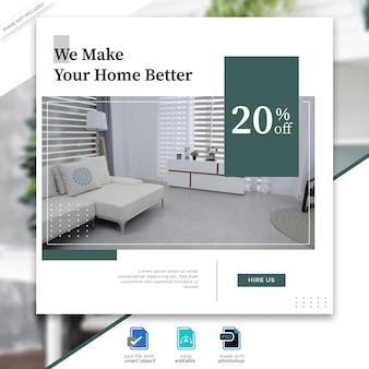 Interior design social media posts template  Premium PSD File