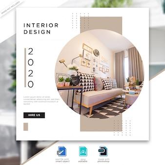 Interior design social media posts template