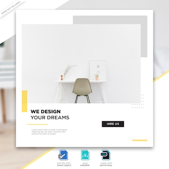 Interior design social media posts template