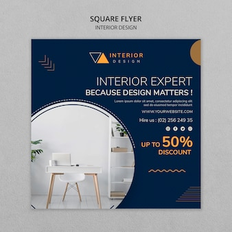 Interior design square flyer template