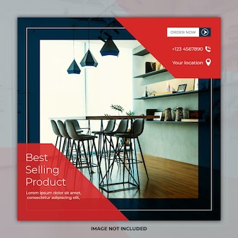 Interior design square template social media post banner