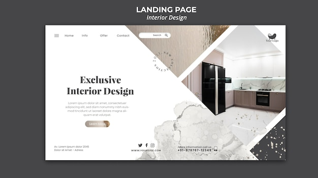 Interior design template landing page