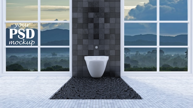 Interior design toilet with window view mockup