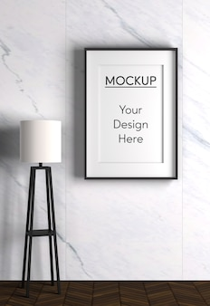 Interior design with lamp and frame