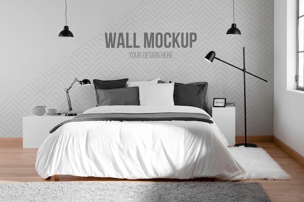 最小限のモックアップ壁を備えたインテリアデザイン