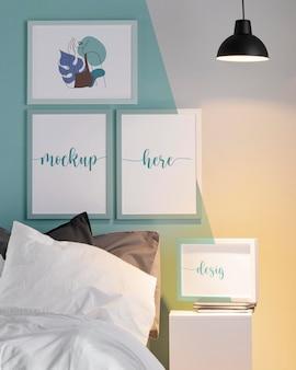 Interior design with mock-up frames arrangement