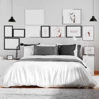 Interior design with mock-up frames assortment