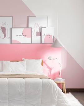 Interior design with mock-up frames composition