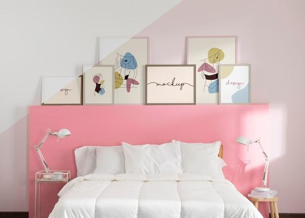 Interior design with mock-up frames
