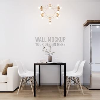 Interior dining room wall background mockup