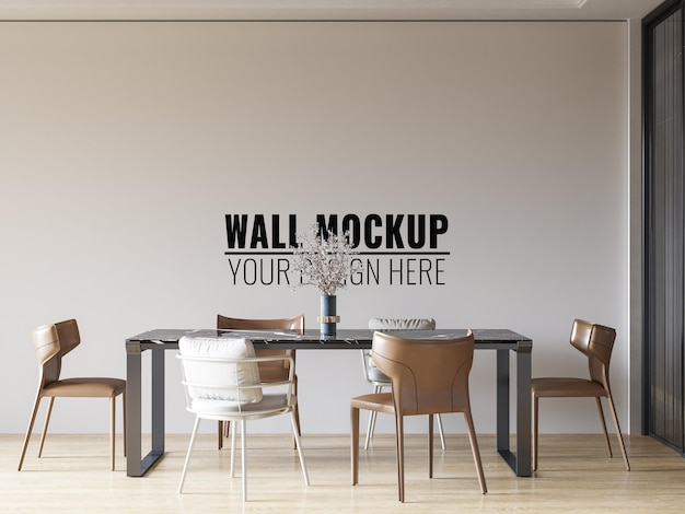Interior dining room wall mockup 3d rendering