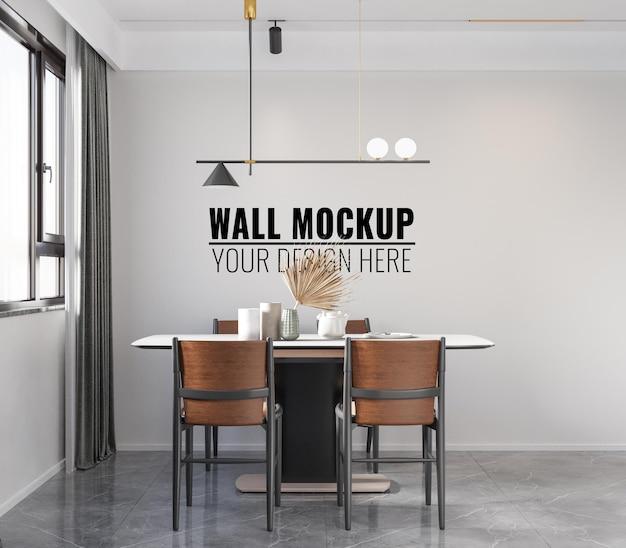 Interior dining room wall mockup - 3d rendering
