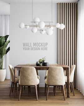 Interior dining room wall mockup with brown velvet chair