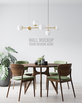 Interior dining room wall mockup with green wooden chair