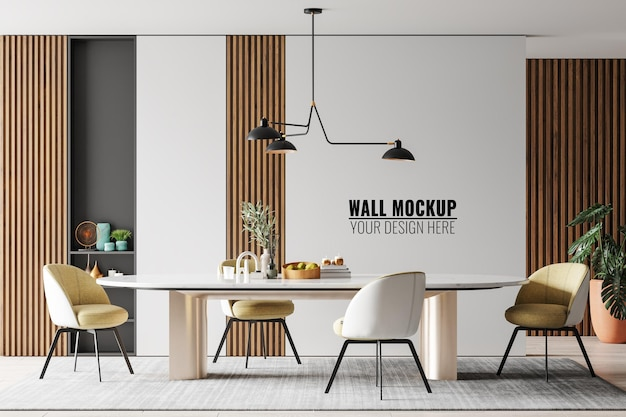 Interior dining room wall mockup