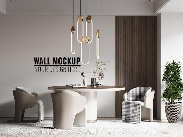 Interior dining room wall mockup