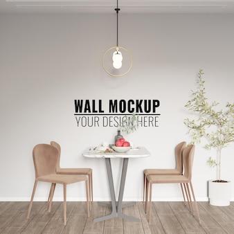 Mockup della parete della sala da pranzo interna