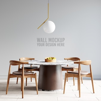 Interior dining room wallpaper mockup Free Psd