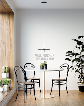Interior dining room wallpaper mockup