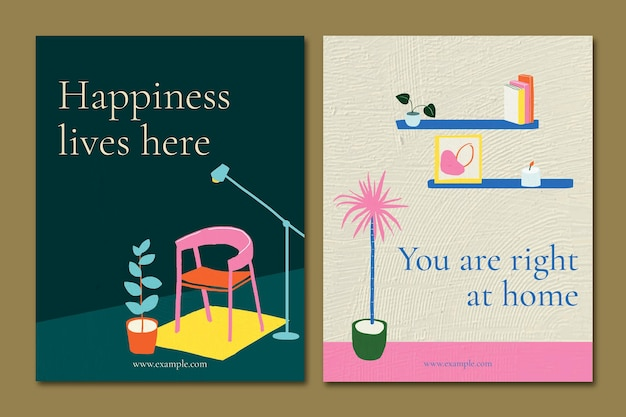 Interior flyer template psd with quote in hand drawn style set