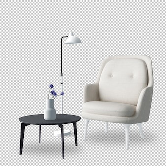 Interior furniture set in 3d rendering