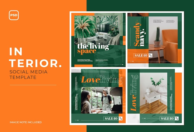 Interior home living social media  post template
