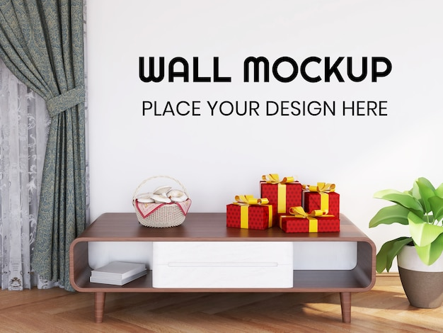 Interior interior living room wallpaper mockup