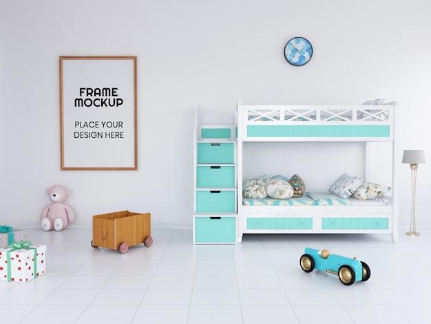 インテリア子供寝室フレーム写真モックアップ