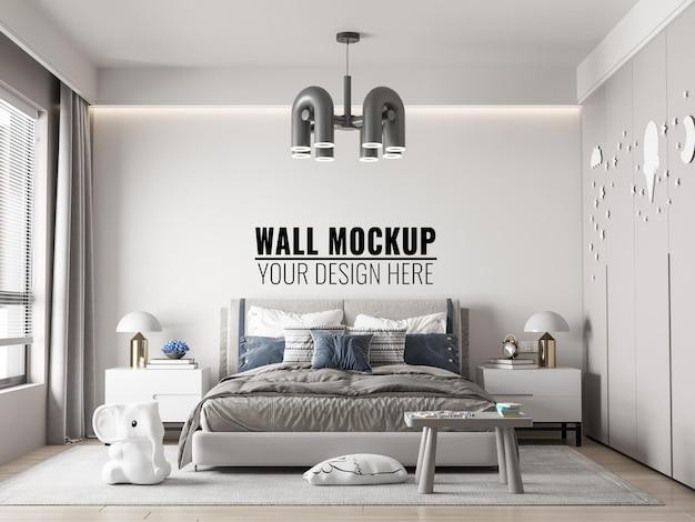 Interior kids bedroom wall mockup