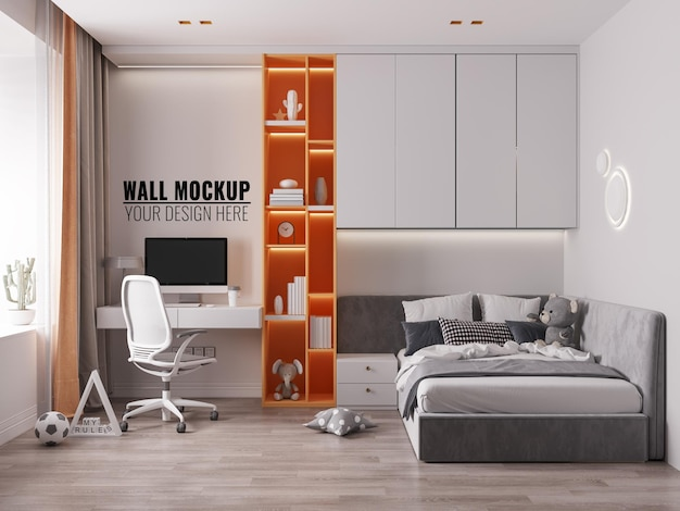 Interior kids bedroom wall mockup