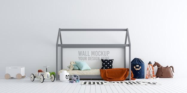 Interior kids bedroom wallpaper mockup