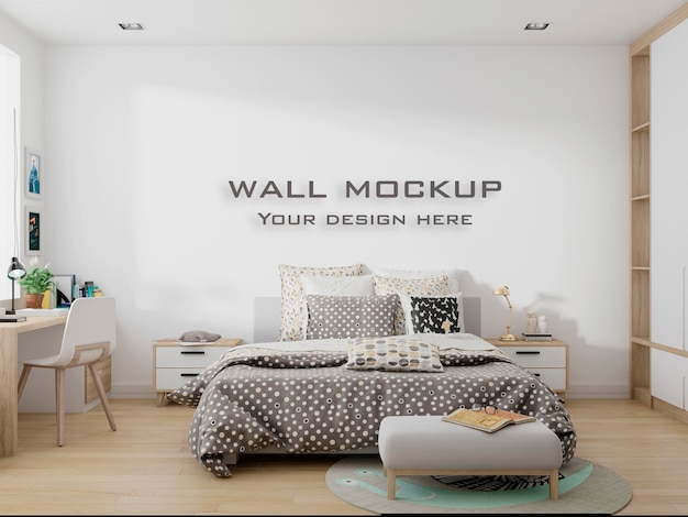Interior kids room wallpaper background mockup premium psd