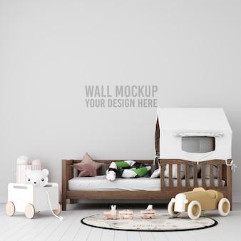 Interior kids room wallpaper mockup