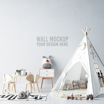 Interior kids room wallpaper mockup
