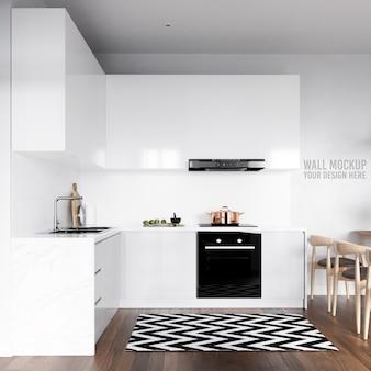 Interior kitchen wall background mockup