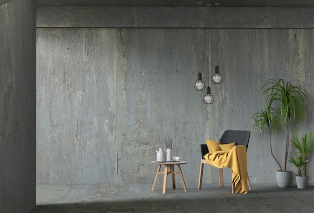 Interior living concrete wall room with chair